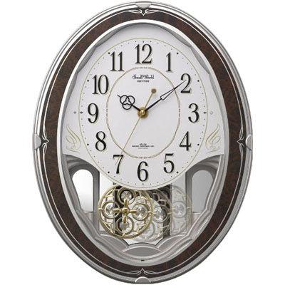 リズム時計 電波時計 掛け時計 18曲入り クリスタル飾り振り子付き スモールワールドハイム(木目仕上げ) 4MN520RH23
