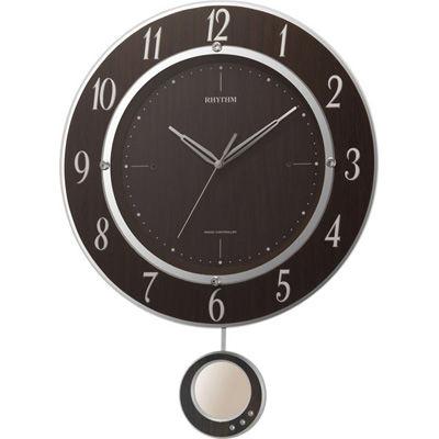 リズム時計 電波時計 掛け時計 クリスタル飾り振り子付き 44.2x33cmトライメテオDX(木目仕上げ) 8MX403SR23