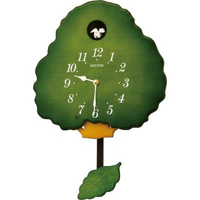 リズム時計 掛け時計 ハト時計 鳴り止めスイッチ付き 木枠 グレイスカッコー413R(緑半艶仕上げ) 4MJ413RH05