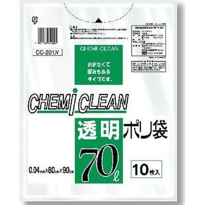 ケミカルジャパン ケミカルジャパン ゴミ袋 70L 透明 ポリ袋 (10枚入)【40個セット】 4991437140024【納期目安:1週間】