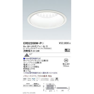 遠藤照明 LEDZ Rs series ベースダウンライト:白コーン ERD2208W-P