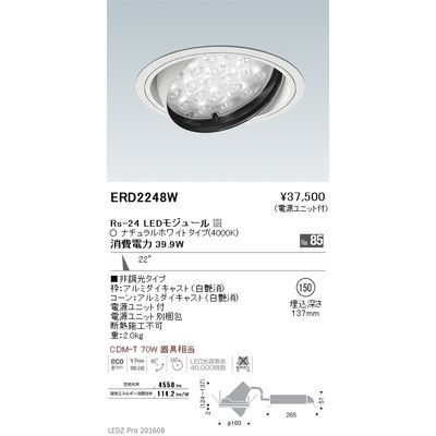 遠藤照明 LEDZ Rs series ユニバーサルダウンライト ERD2248W