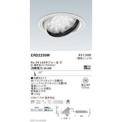 遠藤照明 LEDZ Rs series ユニバーサルダウンライト ERD2250W