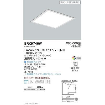 遠藤照明 LEDZ FLAT BASE series スクエアベースライト 下面乳白パネル形 ERK9746W