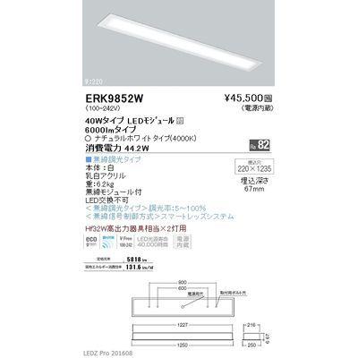 遠藤照明 LEDZ FLAT BASE series ベースライト 下面乳白パネル形 ERK9852W