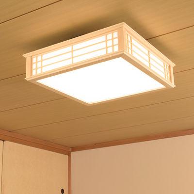オーム電機 天然木使用LED和風シーリングライト12畳用電球色 LE-W50LBK-K