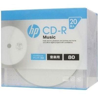 日本HP 音楽用CD-R インクジェットプリンター対応ホワイトワイドレーベル 1-32倍速 20枚 CDRA80CHPW20A-80