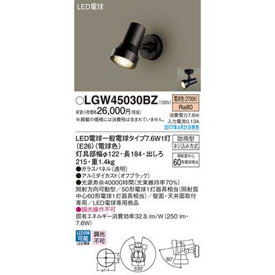 パナソニック エクステリアライト LGW45030BZ