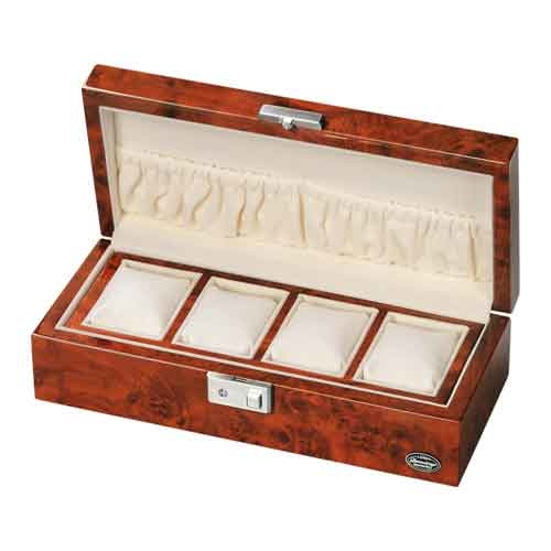 LUHW(ローテンシュラガー) 木製時計4本収納ケース ダークブラウン/濃木目 LU51005RD