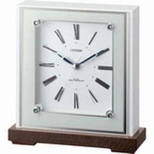 リズム時計 シチズン 電波時計 置き時計 クリスタル飾り付き 木枠(MDF) マリアージュ706(白) 4RY706-003