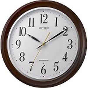 リズム時計 電波時計 掛け時計 連続秒針 直径32cm 木枠 フィットウェーブアヤ(茶色半艶仕上げ) 8MY512SR06