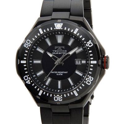 Technos テクノス ソーラーバッテリー デイト 10気圧防水 ブラック メンズ 腕時計 T2415BB