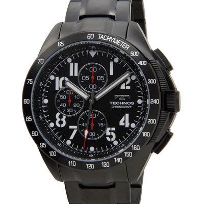 Technos テクノス 限定モデル プレミアム クロノグラフ 10気圧防水 替えベルト付き ブラック メンズ 腕時計 T4417BB