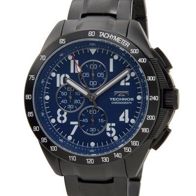 Technos テクノス T4417BH 限定モデル プレミアム クロノグラフ 10気圧防水 替えベルト付き ブルー メンズ 腕時計 T4417BN