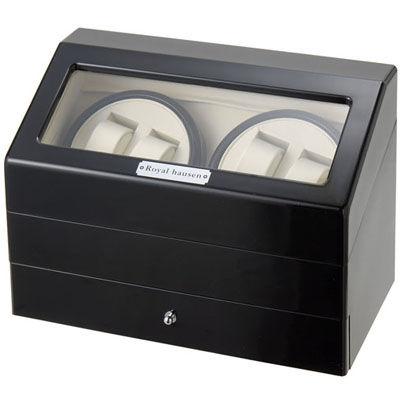 ロイヤルハウゼン ワインダー 時計収納ケース付きワインダー4本巻5本収納 SR074 BK ワインディングマシーン 腕時計/自動巻き機 SR074BK