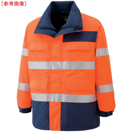 トラスコ中山 ミドリ安全 高視認性 防水帯電防止防寒コート オレンジ S SE1125UES