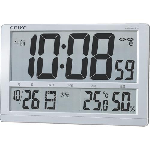 トラスコ中山 SEIKO 大型液晶電波掛置兼用時計 SQ433S