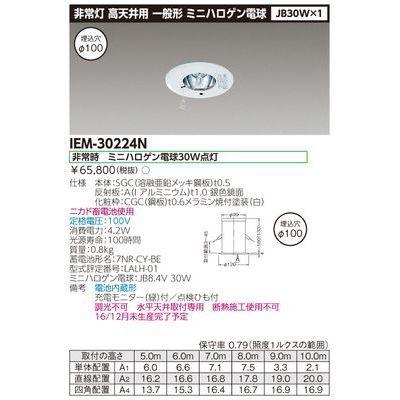 東芝 JB30×1埋込非常灯電池内蔵高天井 IEM-30224N