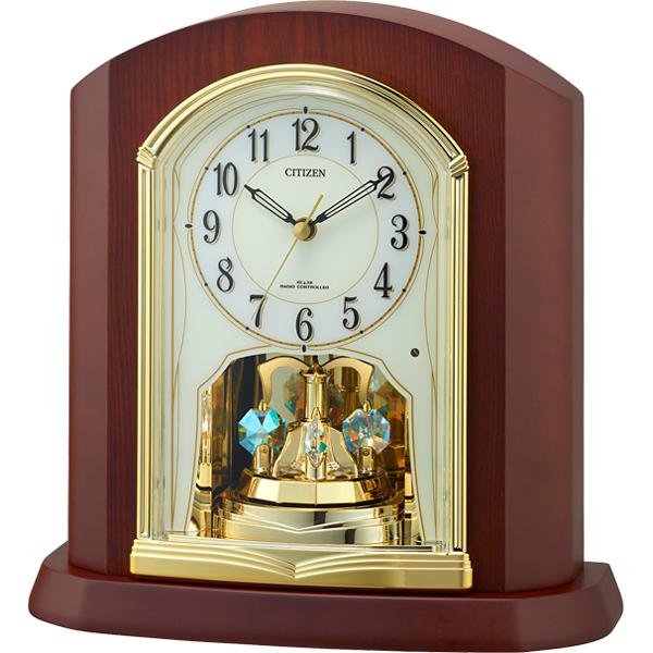 リズム時計 シチズン 電波時計 置き時計 クリスタル回転飾り付き 木枠(茶色半艶仕上げ) 4RY702-N06