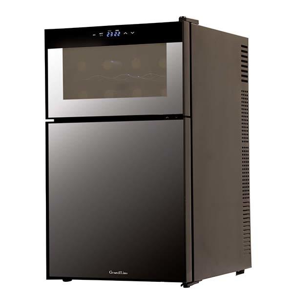 エスキュービズム 2ドア ミラーガラス冷蔵庫一体型ワインクーラー 62L WRH-M262