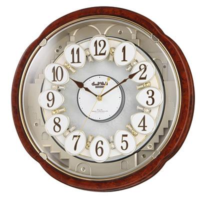 リズム時計 【売れています!】【台数限定大特価!!】 電波時計 掛け時計 からくり機能 30曲入り スモールワールドコンベルS(木目仕上げ) 4MN480RH23