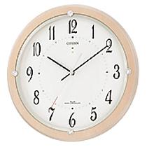 リズム時計 シチズン 電波時計 掛け時計 ソーラー補助電源 直径33.1cm 木枠(MDF) サイレントソーラーM798(薄茶半艶仕上げ) 4MY798-007