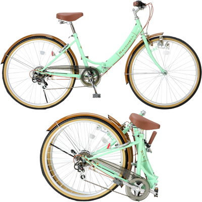 <title>テレビで話題 送料無料 Raychell 20インチ ノーパンクヤイタ 折りたたみ自転車 R-321N グリーン×ブラウン R-321N-17076</title>