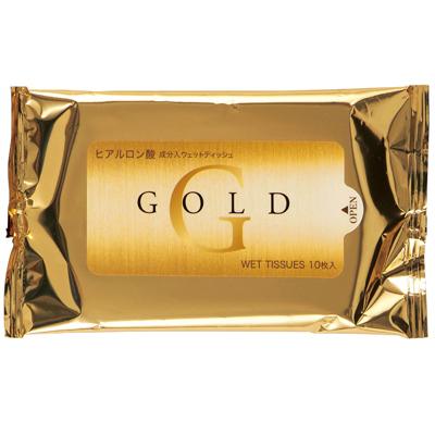 その他 【500個セット】ゴールドウェットティッシュ10枚(ヒアルロン酸配合) 2202230