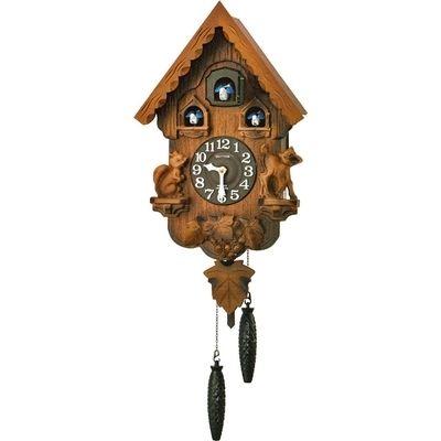 リズム時計 掛け時計 ハト時計 鳴り止めスイッチ付き 木枠 カッコーパンキーR(濃茶ぼかし木地仕上げ) 4MJ221RH06