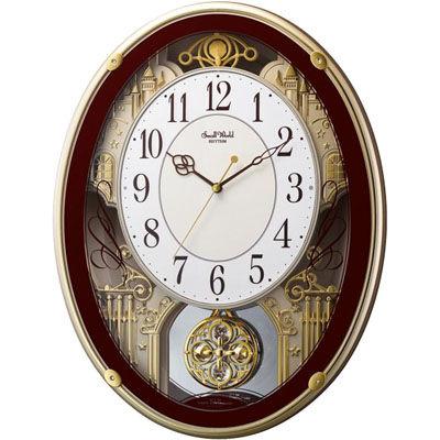 リズム時計 電波時計 掛け時計 18曲入り クリスタル飾り振り子付き スモールワールドプラウド(ブラウン) 4MN523RH06