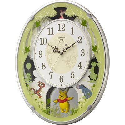 リズム時計 ディズニー 電波時計 掛け時計 28曲入り くまのプーさん M523(白) 4MN523MC03