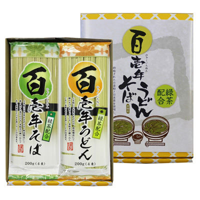 三盛物産 百壱年うどん・そば [茶うどん (50g×4束)×1袋、茶そば (50g×4束)×1袋] EF-8