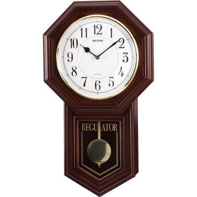 リズム時計 掛け時計 報時機能 夜間消音機能 54x31.6cm 木枠 ベングラーR(茶色半艶仕上げ) 4MJA03RH06