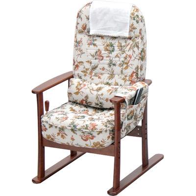 ヤマソロ 肘付き高座椅子 安定型 柄:ベージュフラワー 83-884