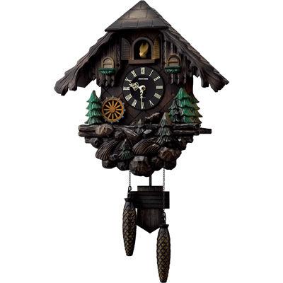リズム時計 掛け時計 ハト時計 からくり機能 オルゴールメロディ 暗所鳴り止め機能 木枠 カッコーヴァルト(ブラウン) 4MJ422SR06
