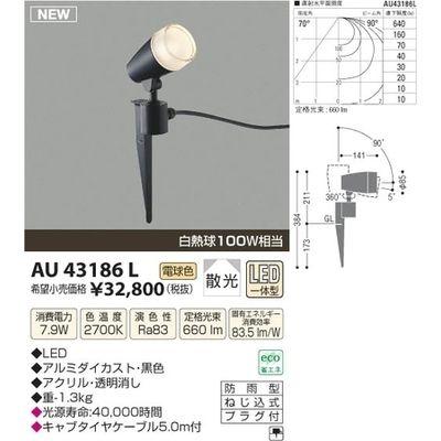 コイズミ LED防雨型スポット AU43186L