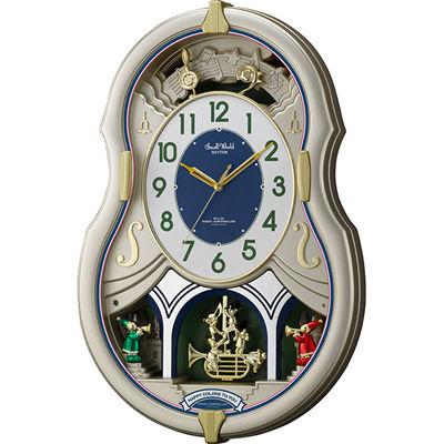 リズム時計 電波時計 掛け時計 30曲入り 飾り振り子付き スモールワールドカラーズ(シャンペンゴールド) 4MN543RH18