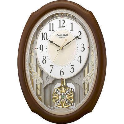 リズム時計 電波時計 掛け時計 30曲入り クリスタル飾り振り子付き スモールワールド セレブレ(ブラウン) 4MN541RH06