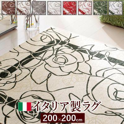 ナカムラ イタリア製ゴブラン織ラグ Camelia〔カメリア〕200×200cm カーペット 正方形 (アイボリーグリーン) 61000364ig