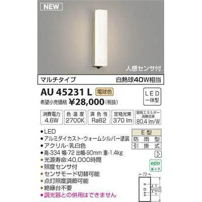 コイズミ 防雨型ブラケット AU45231L