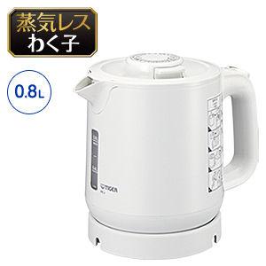 タイガー 業務用蒸気レス電気ケトル<わく子>(ホワイト) PCJ-H080-W【納期目安:1週間】