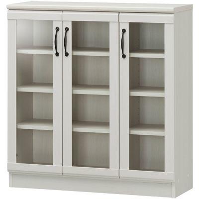 白井産業 セミクラシックなやさしい表情の食器棚 ガラスキャビネット CIELONE チェローネ CEN-9085G