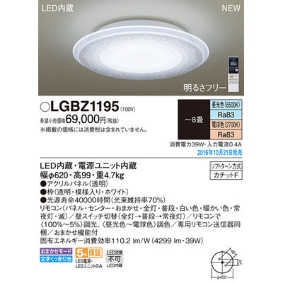 パナソニック シーリングライト LGBZ1195