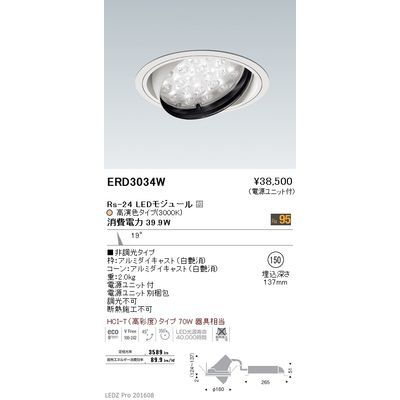 遠藤照明 LEDZ Rs series 生鮮食品用照明(ユニバーサルダウンライト) ERD3034W