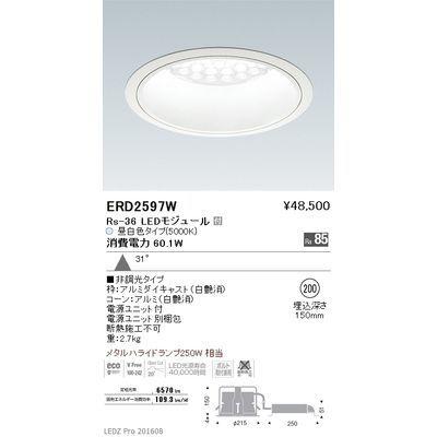 遠藤照明 LEDZ Rs series ベースダウンライト:白コーン ERD2597W