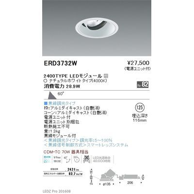 遠藤照明 LEDZ ARCHI series ユニバーサルダウンライト ERD3732W