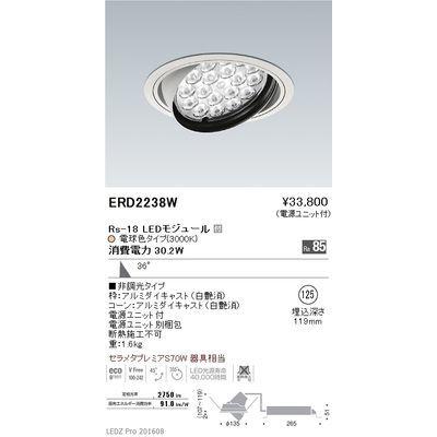 遠藤照明 LEDZ Rs series ユニバーサルダウンライト ERD2238W