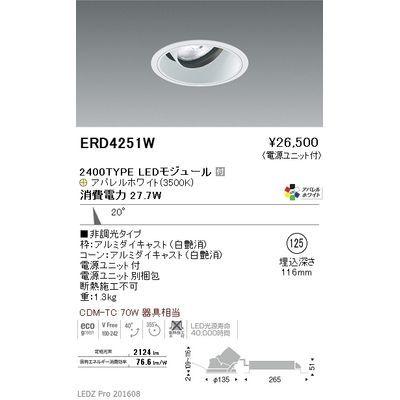 遠藤照明 LEDZ ARCHI series ユニバーサルダウンライト ERD4251W