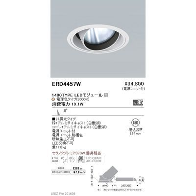 遠藤照明 LEDZ ARCHI series ユニバーサルダウンライト ERD4457W
