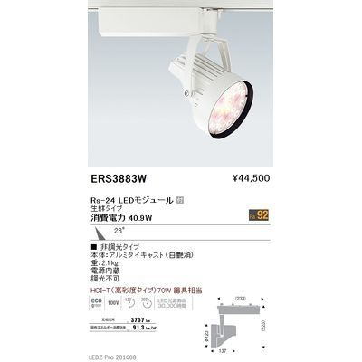 遠藤照明 LEDZ Rs series 生鮮食品用照明(スポットライト) ERS3883W